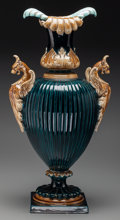 Ceramics & Porcelain, British:Antique  (Pre 1900), A Continental Majolica Urn with Dragon Handles, late 19th century. 24-1/2 inches high (62.2 cm). ...