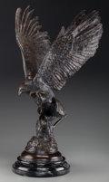 Sculpture, After Jules Moigniez (French). The Falcon. Bronze with brown patina. 25-3/4 inches (65.4 cm) high on a 2-1/2 inches (6.4...