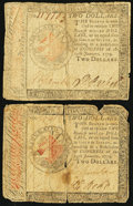 Colonial Notes:Continental Congress Issues, Continental Currency January 14, 1779 $2 Very Good Two Examples..... (Total: 2 notes)
