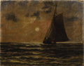 Paintings, NINETEENTH CENTURY SCHOOL. Sailboat. Oil on canvas. 11 x 14 inches (27.9 x 35.6 cm). Unsigned. ...