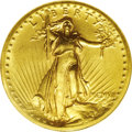 High Relief Double Eagles: , 1907 $20 High Relief, Wire Rim MS63 NGC. Beautifully colored in honey-gold shades, the surfaces are uncommonly distraction-...