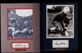 Football Collectibles:Photos, Larry Kelly and Vic Janowicz Signed Displays (2)....