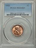 Lincoln Cents: , 1953 1C MS66 Red PCGS. PCGS Population (470/17). NGC Census: (844/25). Mintage: 256,883,808. Numismedia Wsl. Price for prob...