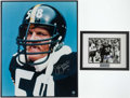 Football Collectibles:Photos, Jack Lambert and Franco Harris Signed Photographs (2)....