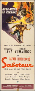 "Movie Posters:Hitchcock, Saboteur (Universal, 1942). Insert (14"" X 36""). Hitchcock.. ..."
