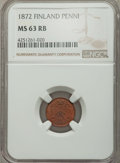 Finland:Russian Duchy, Finland: Russian Duchy. Alexander II Penni 1872 MS63 Red and Brown NGC,...