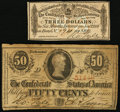 Confederate Notes:1863 Issues, T63 50 Cents 1863 PF-6 Cr. 488;. $3 Confederate Bond Coupon.. ...(Total: 2 notes)