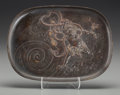 Asian:Japanese, A Japanese Partial Gilt Bronze Tray: Oni. 6-5/8 inches highx 9 inches wide (16.8 x 22.9 cm). ...