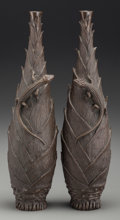 Asian:Japanese, A Pair of Japanese Cast Bronze Bud Vases with Lotus and ChilongMotifs. Marks: (two-character mark to underside). 9-3/4 inch...(Total: 2 Items)