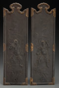Asian:Japanese, A Pair of Japanese Bronze Hanging Panels: Buddhist Heavenly Kings. Marks: (two-character mark). 23-3/4 inche... (Total: 2 Items)