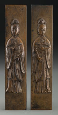 Asian:Japanese, A Pair of Japanese Gilt Bronze Figural Scroll Weights. 7-5/8 inches long (19.4 cm). ... (Total: 2 Items)