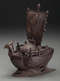 Asian:Japanese, A Two-Piece Japanese Bronze Takarabune (Treasure Ship).10-3/4 inches high (27.3 cm). ... (Total: 2 Items)