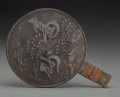Asian:Japanese, A Japanese Silvered Bronze Stork and Minogame Hand Mirror.13-3/8 inches long (34.0 cm). ...