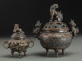 Asian:Chinese, Two Chinese Bronze Lidded Censers with Foo Dog and Dragon Motifs,late 19th century. Marks: (seals to undersides). 8-1/4 inc...(Total: 2 Items)