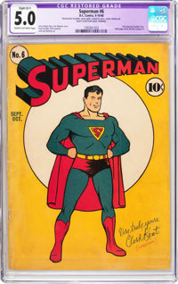 Superman #6 (DC, 1940) CGC Apparent VG/FN 5.0 Slight (B-1) Cream to off-white pages