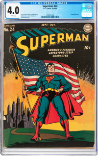 Superman #24 (DC, 1943) CGC VG 4.0 White pages