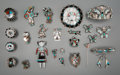 American Indian Art:Jewelry and Silverwork, Twenty-Four Zuni Silver and Stone Items. c. 1950 - 1990. ...(Total: 24 Items)