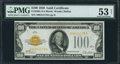 Small Size:Gold Certificates, Fr. 2405 $100 1928 Gold Certificate. PMG About Uncirculated 53 Net.. ...