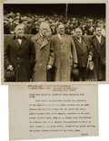 "Baseball Collectibles:Photos, 1923 Kenesaw ""Mountain"" Landis, Harry Frazee & Jacob Ruppert at Opening of Yankee Stadium Original Photograph, PSA/DNA Type 1...."