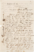 Miscellaneous:Ephemera, Abraham Lincoln Assassination: Letter by Wall Street Banker....