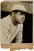 Baseball Collectibles:Photos, 1921 Babe Ruth Original News Photograph, PSA/DNA Type 1....