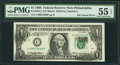 Error Notes:Ink Smears, Fr. 1924-C $1 1999 Federal Reserve Note. PMG About Uncirculated 55EPQ.. ...