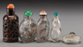 Asian:Chinese, A Group of Five Chinese Snuff Bottles. 3-5/8 inches high (9.2 cm)(tallest). ... (Total: 5 Items)