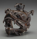 Other, A Japanese Bronze Dragon Head. 3-1/4 h x 3-1/2 w x 3-1/8 d inches (8.3 x 8.9 x 7.9 cm). ...