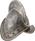 Militaria:Armor, Victorian-Era Morion Helmet Etched in the Italian or SpanishStyle....