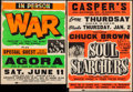 "Movie Posters:Rock and Roll, War at Agora Ballroom & Other Lot (Agora, 1970s). LocallyProduced Concert Window Cards (2) (22"" X 28.25"" & 22"" X 30.5"").R... (Total: 2 Items)"