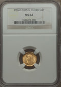 Commemorative Gold, 1904 G$1 Lewis and Clark Gold Dollar MS64 NGC....