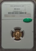 Commemorative Gold, 1903 G$1 Louisiana Purchase, Jefferson Gold Dollar MS66 ★ NGC.CAC....