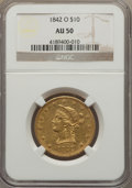 Liberty Eagles, 1842-O $10 AU50 NGC. Variety 2....