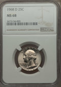 Washington Quarters, 1968-D 25C MS68 NGC....