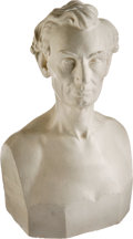 Political:3D & Other Display (pre-1896), Abraham Lincoln: Dated 1860 Plaster Bust by Leonard Volk....