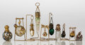 Art Glass:Other , Ten Miniature Perfume Flasks on Stands, 19th-20th century. 3-7/8inches (9.7 cm) (longest). A PERFUME BOTTLE COLLECTION FR...(Total: 10 Items)