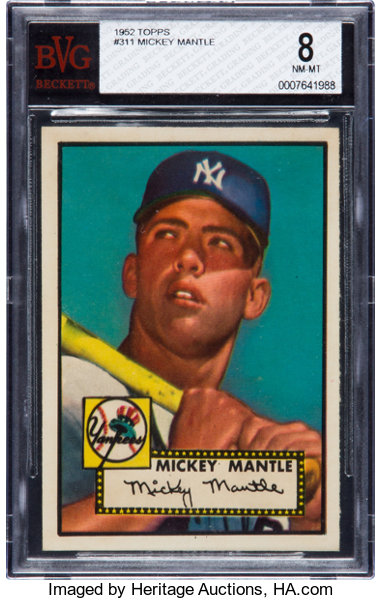 1952 Topps Mickey Mantle 311 Bvg Nm Mt 8 Highest Graded
