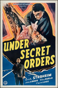 "Under Secret Orders (Guaranteed Pictures, 1943). One Sheet (27"" X 41""). War"