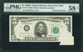 Error Notes:Attached Tabs, Fr. 1971-B $5 1969B Federal Reserve Note. PMG Choice About Unc 58EPQ.. ...