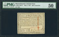 Colonial Notes:Massachusetts, Massachusetts May 5, 1780 $20 Contemporary Counterfeit PMG About Uncirculated 50.. ...