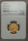 Three Dollar Gold Pieces, 1858 $3 -- Damaged -- NGC Details. AU....