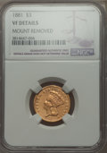 Three Dollar Gold Pieces, 1881 $3 -- Mount Removed -- NGC Details. VF....