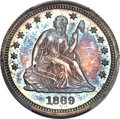 Proof Seated Quarters, 1869 25C PR66 PCGS. CAC. Briggs 2-B....