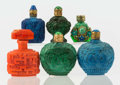 Art Glass:Other , Six Continental Glass Perfume Bottles, 20th century. Marks:CZECHOSLOVAKIA. 3 inches high (7.6 cm). A PERFUME BOTTLEC... (Total: 6 Items)
