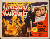 "Journey for Margaret (MGM, 1942). Autographed Title Lobby Card (11"" X 14""). War"