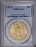 Saint-Gaudens Double Eagles: , 1909-S $20 MS64 PCGS. A highly lustrous example with mediumhoney-gold surfaces, well struck, and lacking singularly mentio...