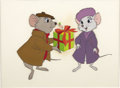 "animation art:Production Cel, ""The Rescuers"" Bernard and Bianca Animation Publicity Cel Set-Upand Background Original Art (Disney, 1977). ..."