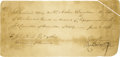"Autographs:Statesmen, George Clymer Manuscript Document Signed ""Geo Clymer"" and""Robert Whyte,"" one page, 8"" x 3.75"". [Philadelphia],June..."