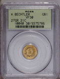 Territorial Gold: , (1842-52) G$1 A.Bechtler Dollar, 27G. 21C. VF30 PCGS. K-24, R.3.Olive-gold in color with blushes of powder-blue patina on ...