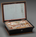 Decorative Arts, British:Other , An English Regency Palisander, Mother-of-Pearl and Satinwood FittedSewing Box, circa 1820. 3 h x 8-3/8 w x 6-1/4 d inches (...
